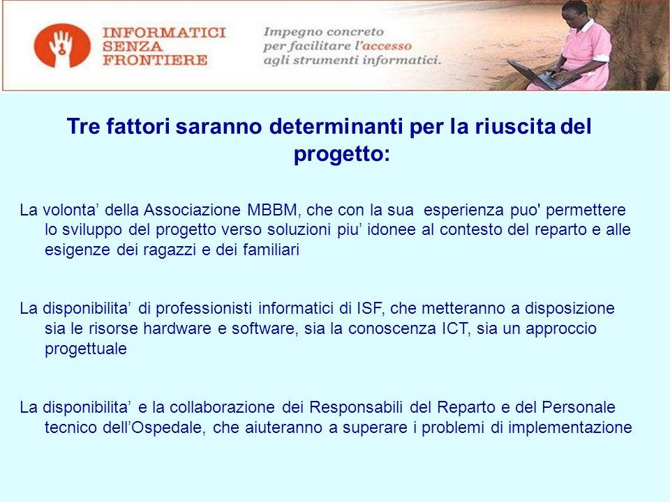 Riferimenti Maggiori informazioni su ISF e MBBM sono disponibili in internet agli indirizzi: http://www.fondazionembbm.it/MBBM/HOME.html www.informaticisenzafrontiere.org I referenti di progetto sono: MBBM : Lorella Marcantoni – lmarcantoni@fondazionembbm.it ISF : Enzo Giussani – giussani.enzo@yahoo.it