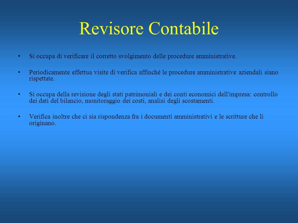 Revisore Contabile Si occupa di verificare il corretto svolgimento delle procedure amministrative. Periodicamente effettua visite di verifica affinché