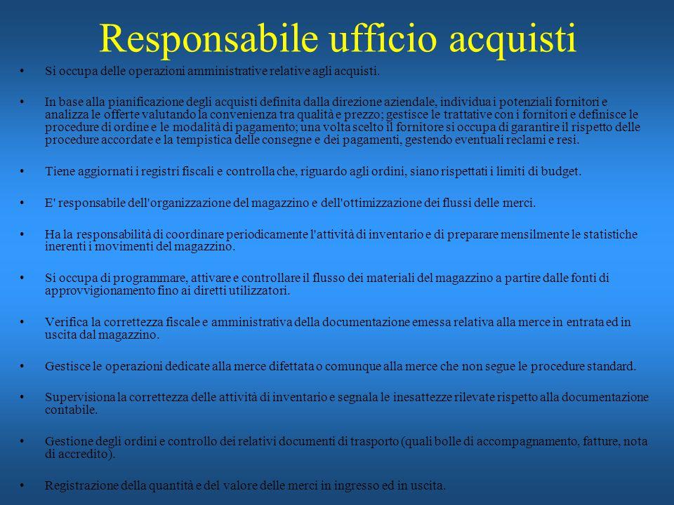 Responsabile ufficio acquisti Si occupa delle operazioni amministrative relative agli acquisti. In base alla pianificazione degli acquisti definita da