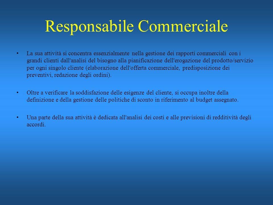 Responsabile Commerciale La sua attività si concentra essenzialmente nella gestione dei rapporti commerciali con i grandi clienti dall'analisi del bis