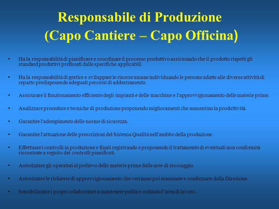 Responsabile di Produzione (Capo Cantiere – Capo Officina ) Ha la responsabilità di pianificare e coordinare il processo produttivo assicurando che il