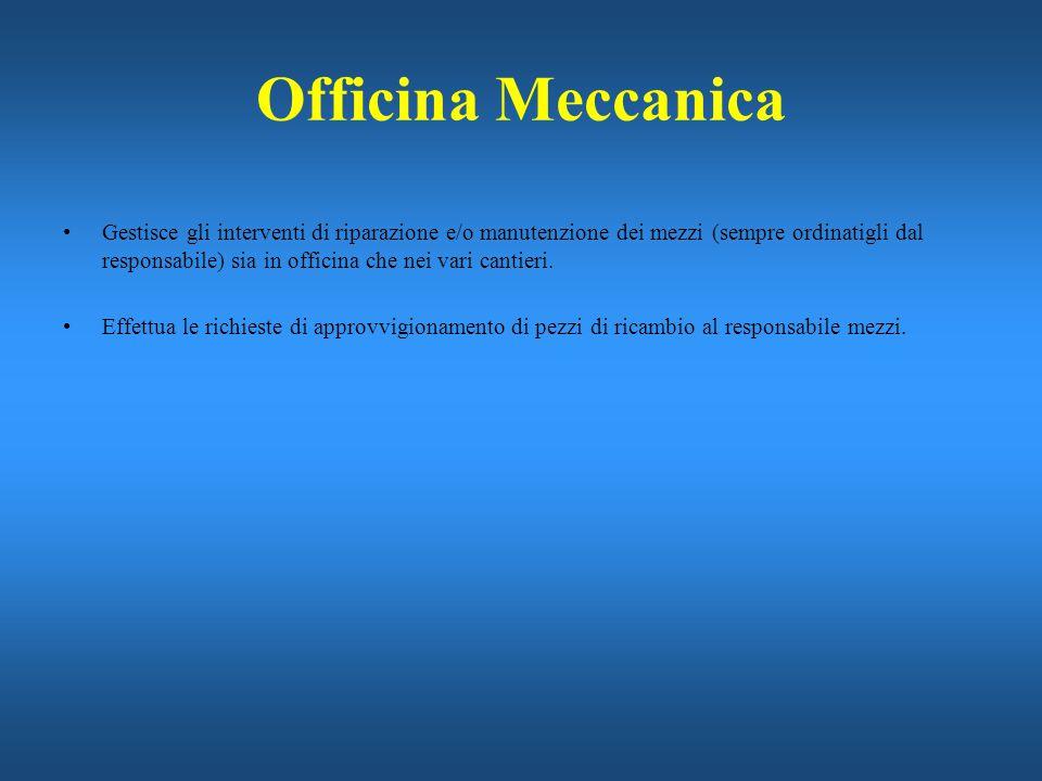 Officina Meccanica Gestisce gli interventi di riparazione e/o manutenzione dei mezzi (sempre ordinatigli dal responsabile) sia in officina che nei var