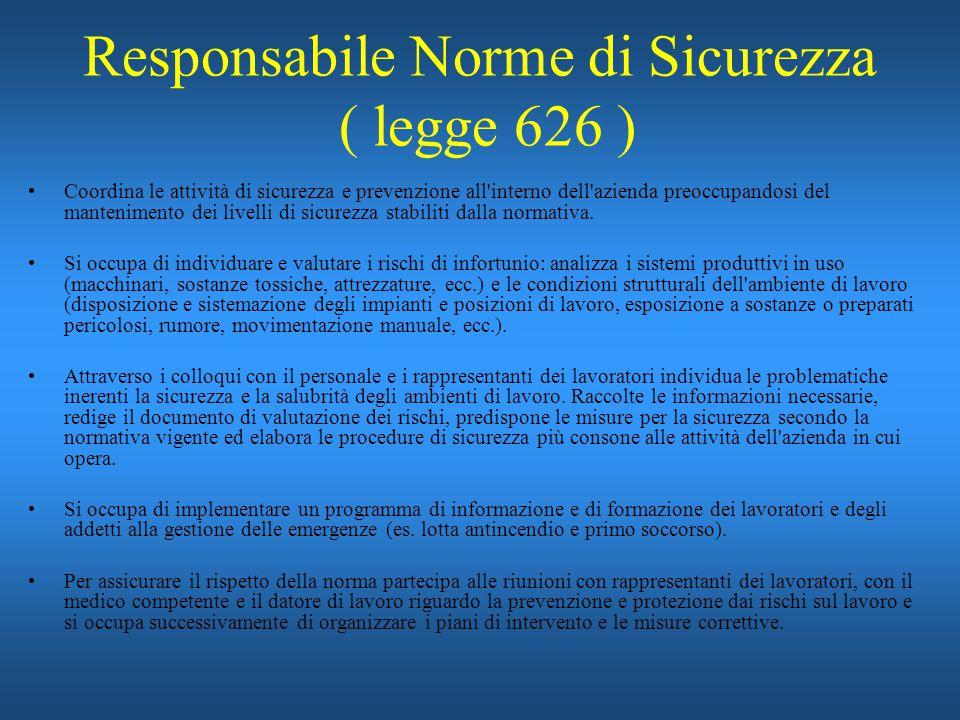 Responsabile Norme di Sicurezza ( legge 626 ) Coordina le attività di sicurezza e prevenzione all'interno dell'azienda preoccupandosi del mantenimento