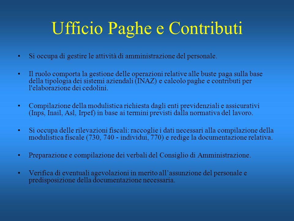 Ufficio Paghe e Contributi Si occupa di gestire le attività di amministrazione del personale. Il ruolo comporta la gestione delle operazioni relative