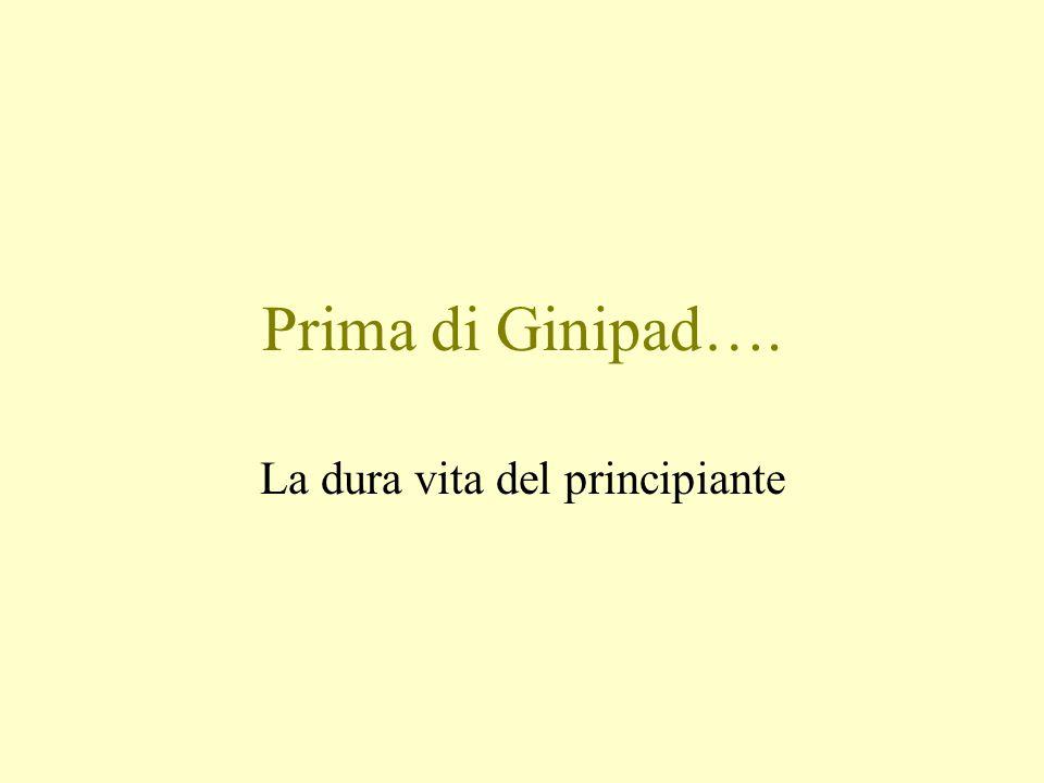 Prima di Ginipad…. La dura vita del principiante
