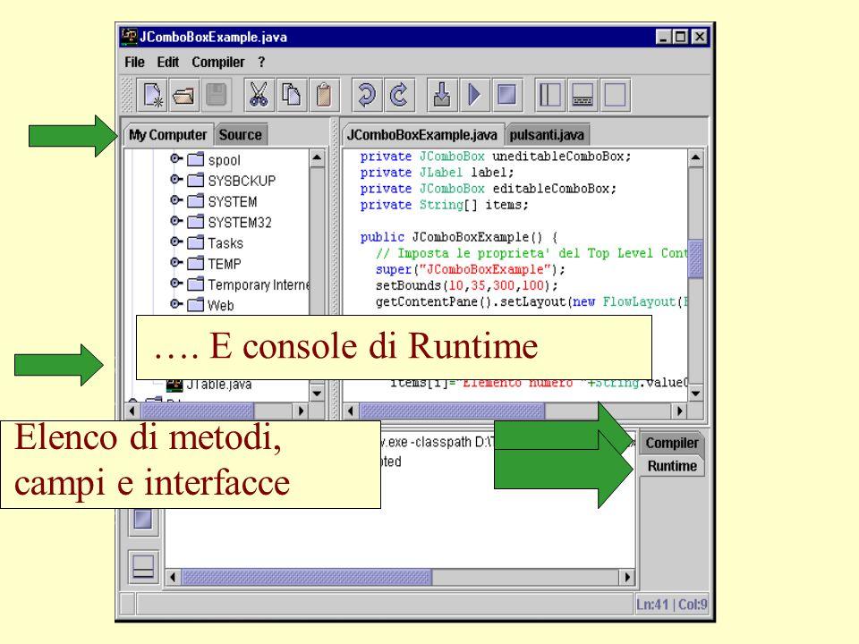 Vista attiva sul filesystem Console del compilatore…. Elenco di metodi, campi e interfacce …. E console di Runtime