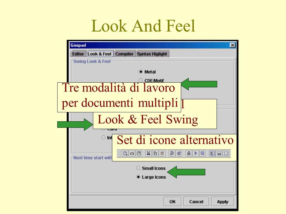 Impostazione del Look & Feel Swing Tre modalità di lavoro per documenti multipli Set di icone alternativo Look And Feel