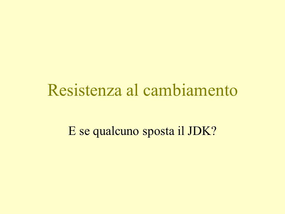 Resistenza al cambiamento E se qualcuno sposta il JDK?