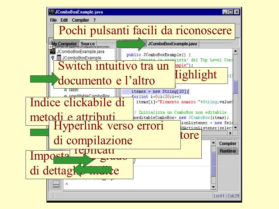 Parametri del compilatore Directory di output Classpath aggiuntivo Posizione del JDK Opzioni del JDK