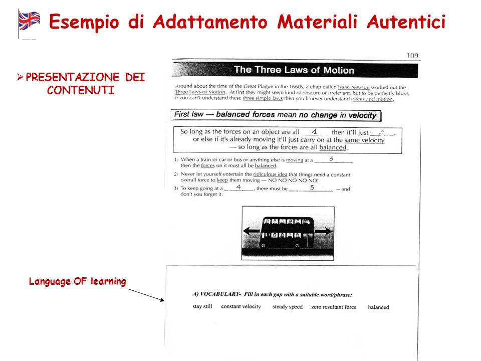Esempio di Adattamento Materiali Autentici Language OF learning  PRESENTAZIONE DEI CONTENUTI
