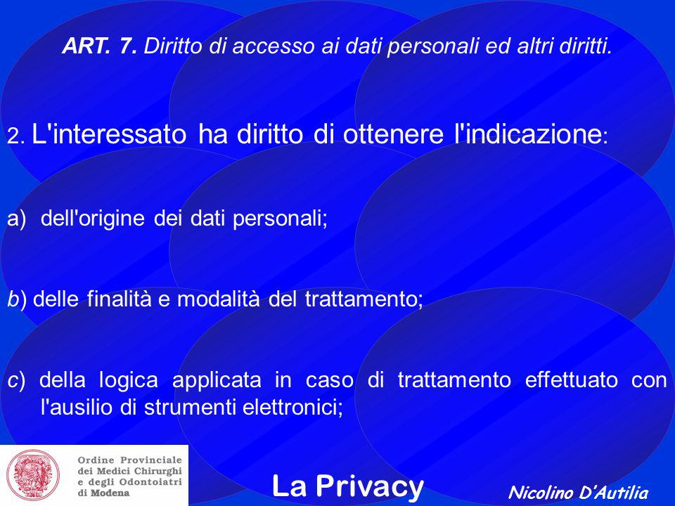 Nicolino D'Autilia La Privacy ART.7. Diritto di accesso ai dati personali ed altri diritti.