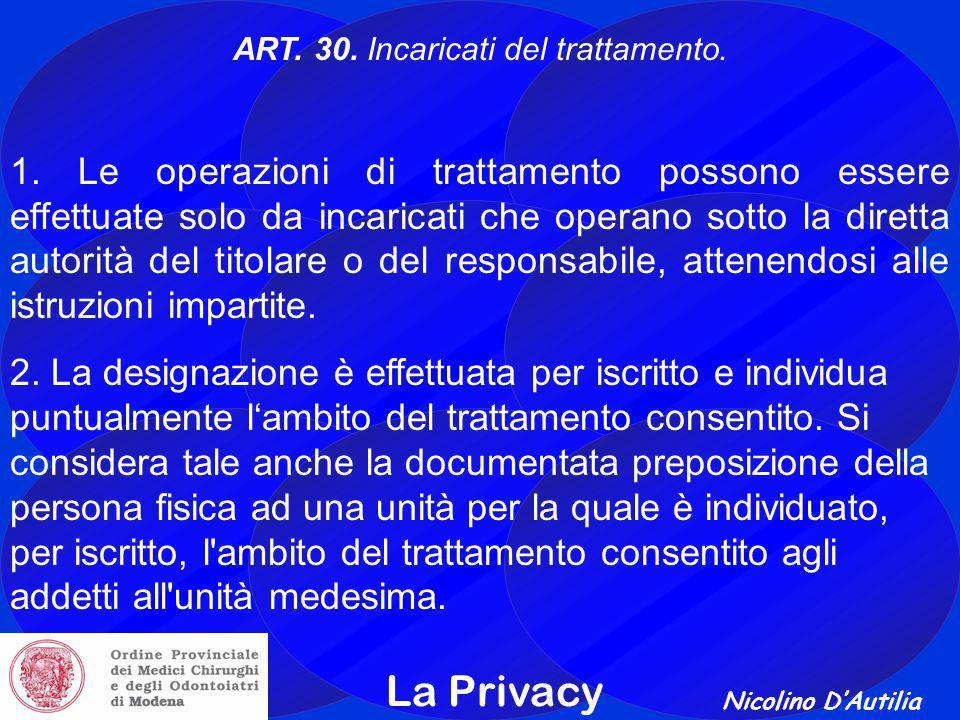 Nicolino D'Autilia La Privacy ART.30. Incaricati del trattamento.