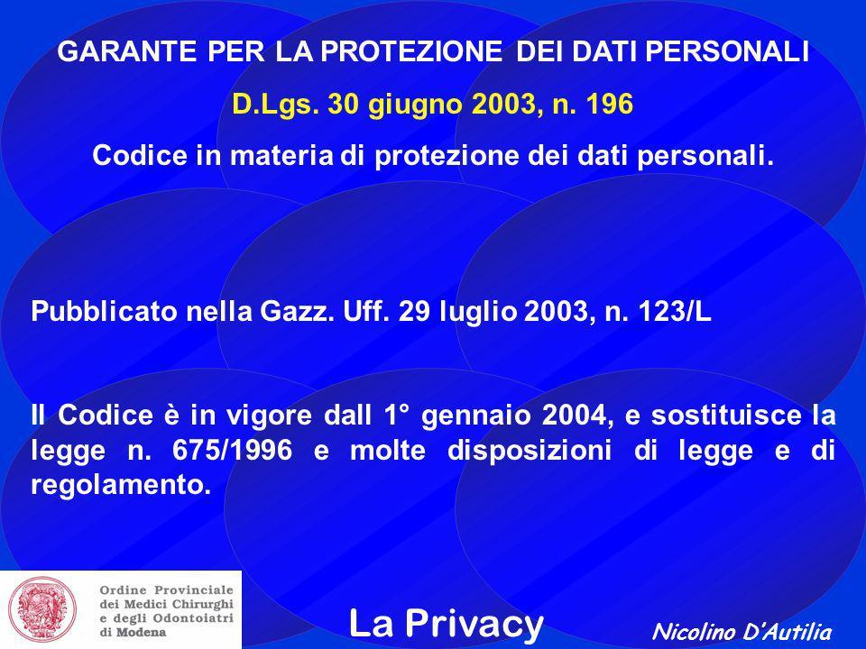 Nicolino D'Autilia La Privacy GARANTE PER LA PROTEZIONE DEI DATI PERSONALI D.Lgs.