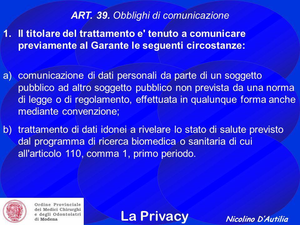 Nicolino D'Autilia La Privacy ART.39.