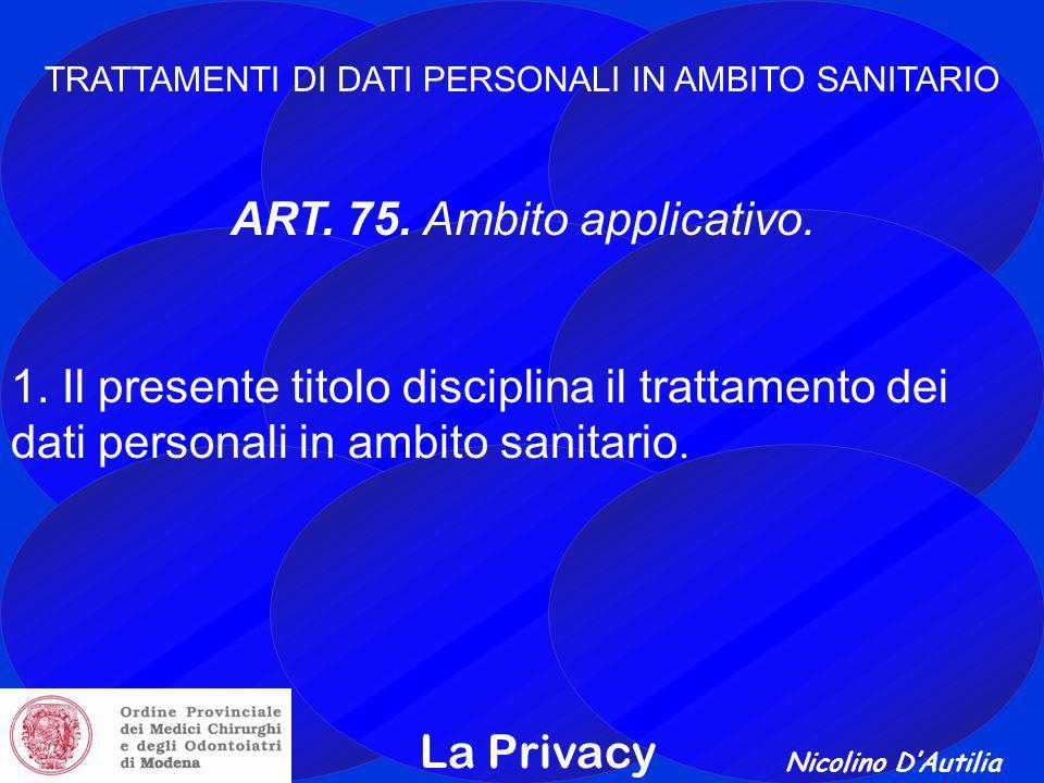 Nicolino D'Autilia La Privacy TRATTAMENTI DI DATI PERSONALI IN AMBITO SANITARIO ART.