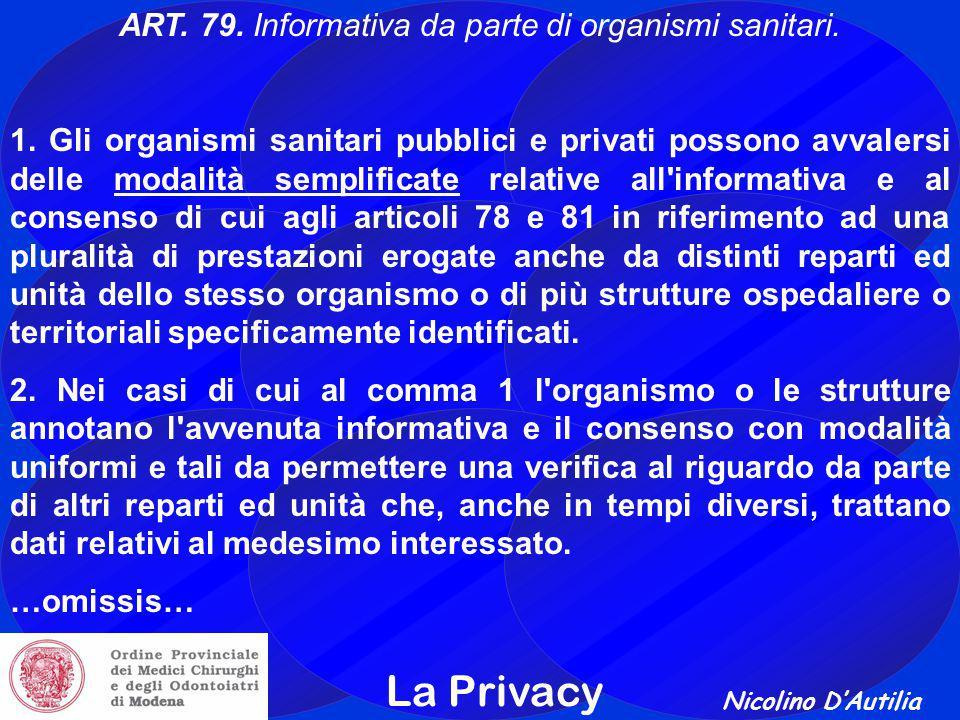 Nicolino D'Autilia La Privacy ART.79. Informativa da parte di organismi sanitari.
