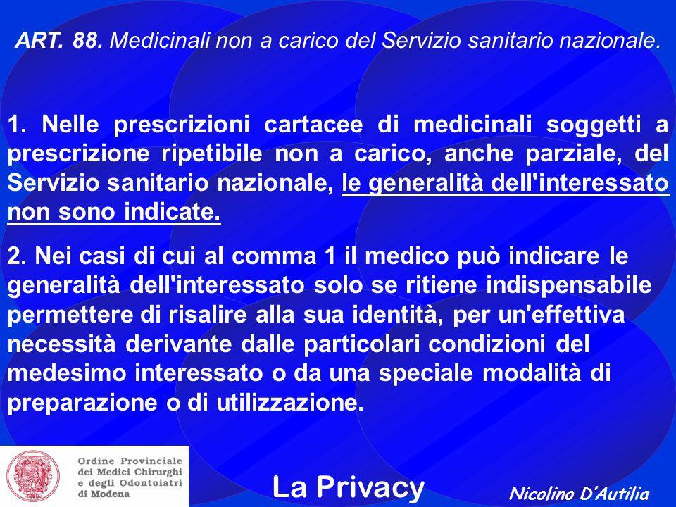 Nicolino D'Autilia La Privacy ART.88. Medicinali non a carico del Servizio sanitario nazionale.
