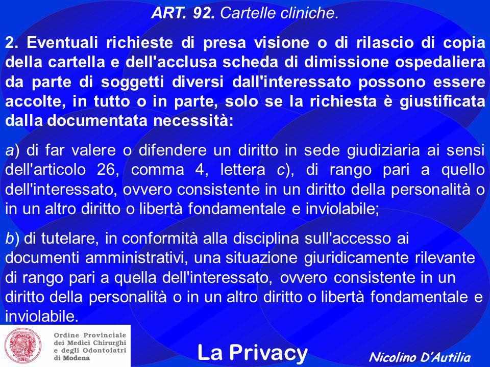 Nicolino D'Autilia La Privacy ART.92. Cartelle cliniche.