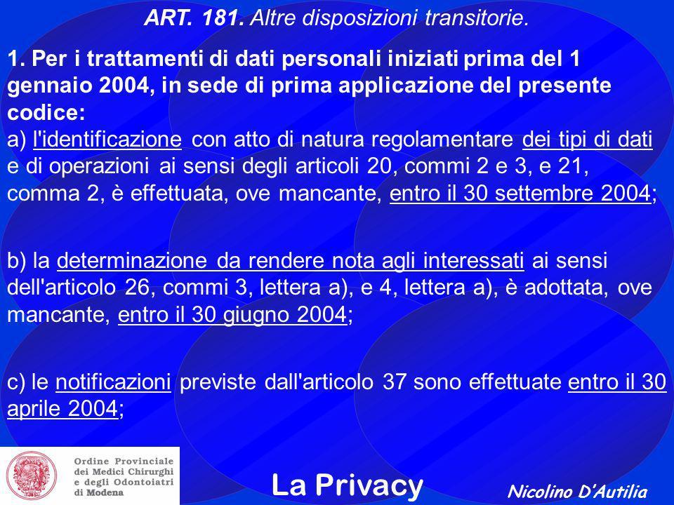 Nicolino D'Autilia La Privacy ART.181. Altre disposizioni transitorie.