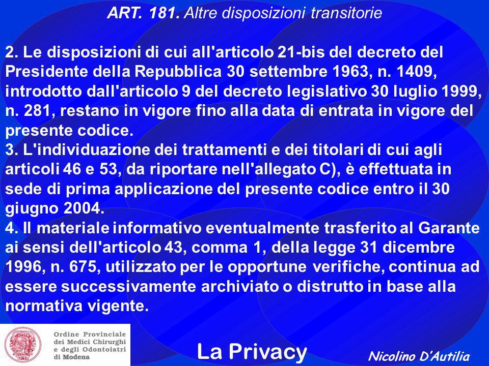 Nicolino D'Autilia La Privacy ART.181. Altre disposizioni transitorie 2.