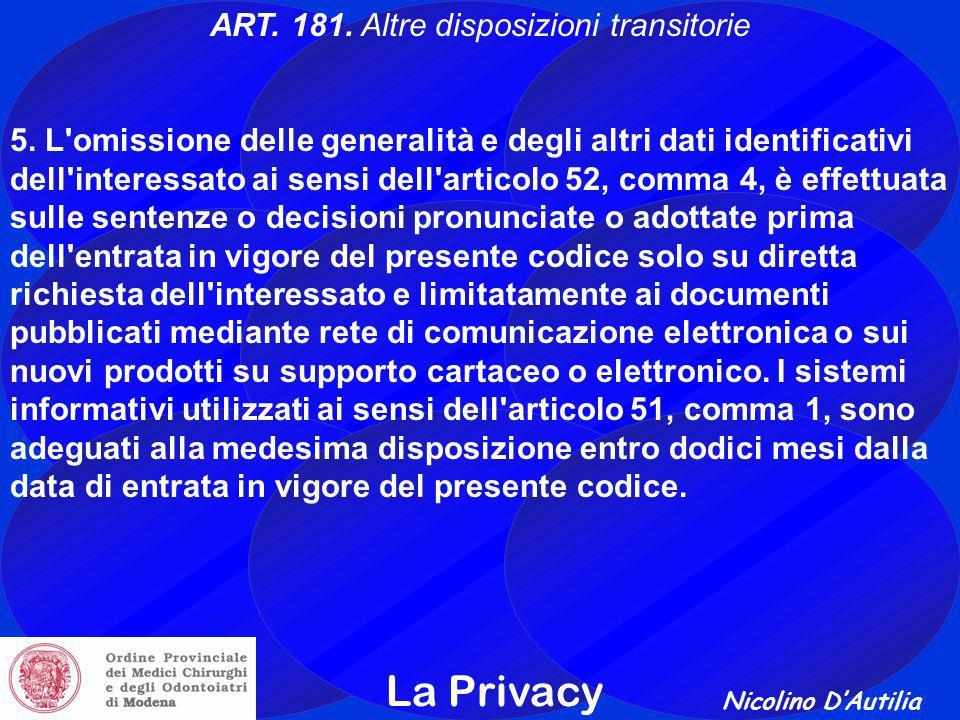 Nicolino D'Autilia La Privacy ART.181. Altre disposizioni transitorie 5.