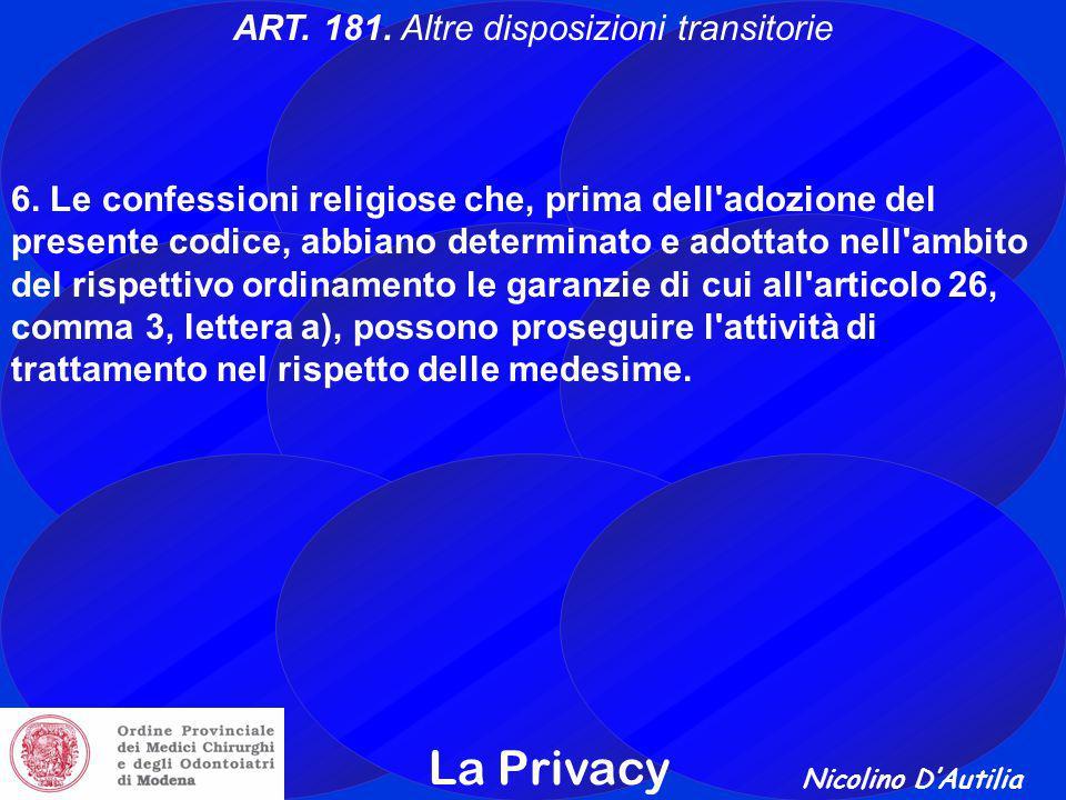 Nicolino D'Autilia La Privacy ART.181. Altre disposizioni transitorie 6.