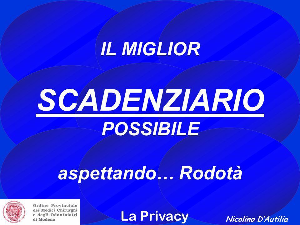 Nicolino D'Autilia La Privacy IL MIGLIOR SCADENZIARIO POSSIBILE aspettando… Rodotà