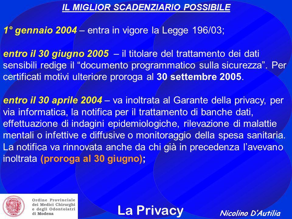 Nicolino D'Autilia La Privacy IL MIGLIOR SCADENZIARIO POSSIBILE 1° gennaio 2004 – entra in vigore la Legge 196/03; entro il 30 giugno 2005 – il titolare del trattamento dei dati sensibili redige il documento programmatico sulla sicurezza .