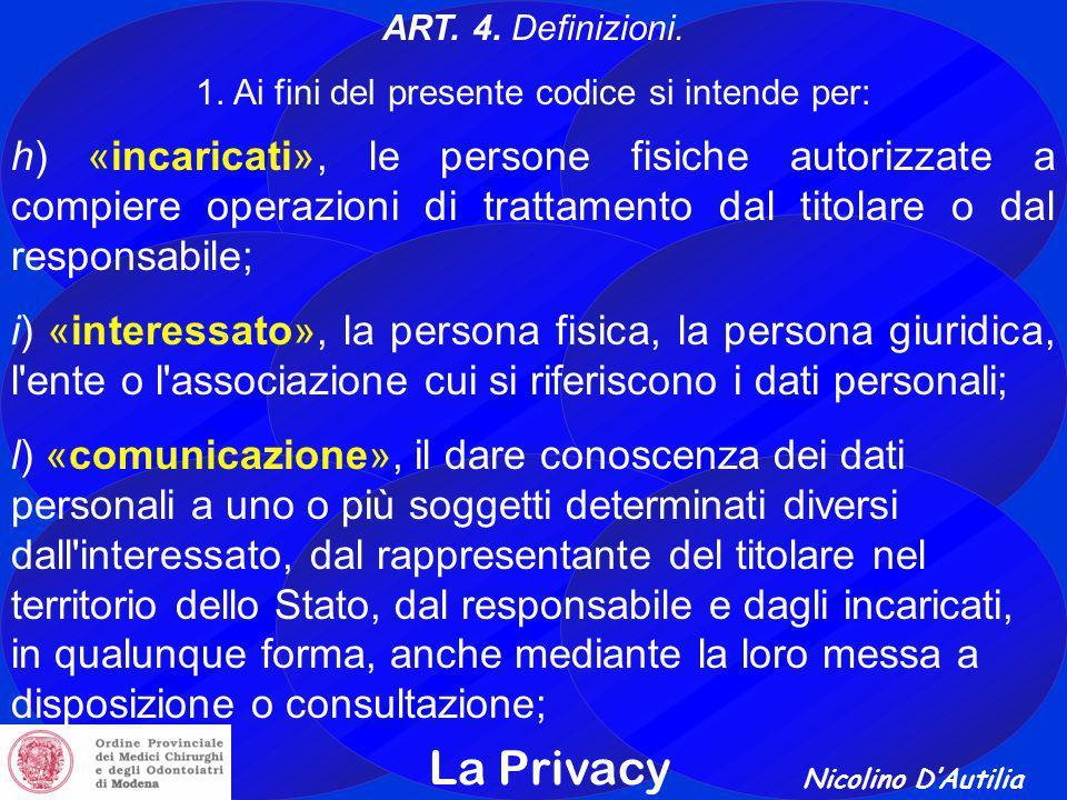 Nicolino D'Autilia La Privacy ART.4. Definizioni.