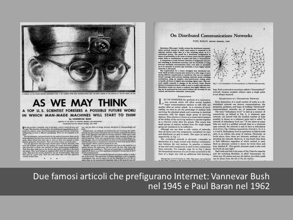 Due famosi articoli che prefigurano Internet: Vannevar Bush nel 1945 e Paul Baran nel 1962