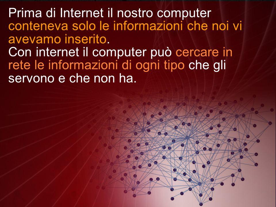 Prima di Internet il nostro computer conteneva solo le informazioni che noi vi avevamo inserito.