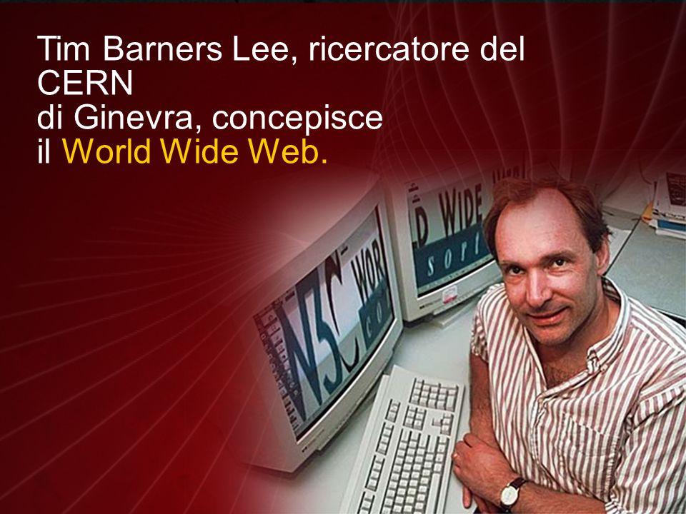 Tim Barners Lee, ricercatore del CERN di Ginevra, concepisce il World Wide Web.