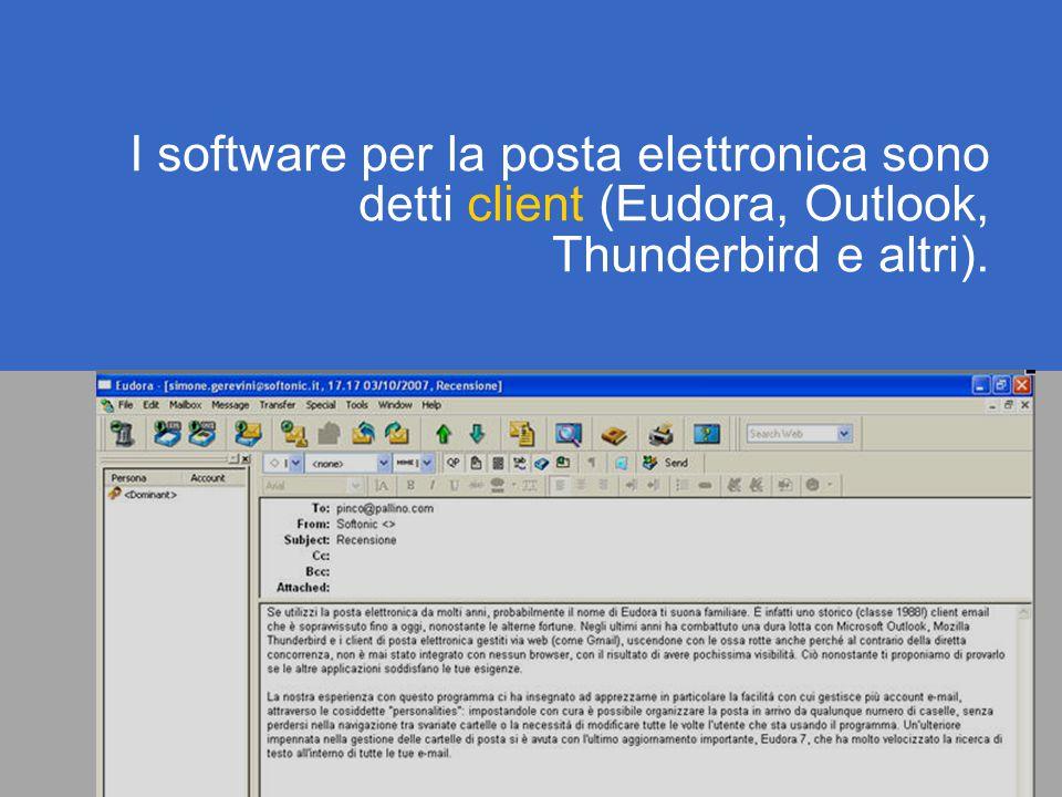 I software per la posta elettronica sono detti client (Eudora, Outlook, Thunderbird e altri).