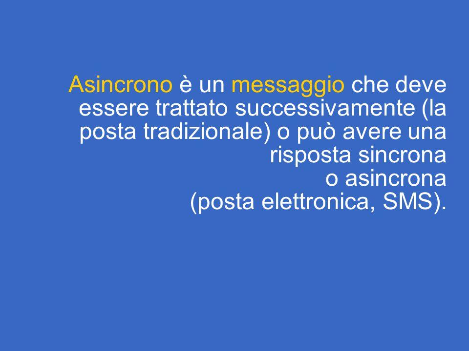 Asincrono è un messaggio che deve essere trattato successivamente (la posta tradizionale) o può avere una risposta sincrona o asincrona (posta elettronica, SMS).