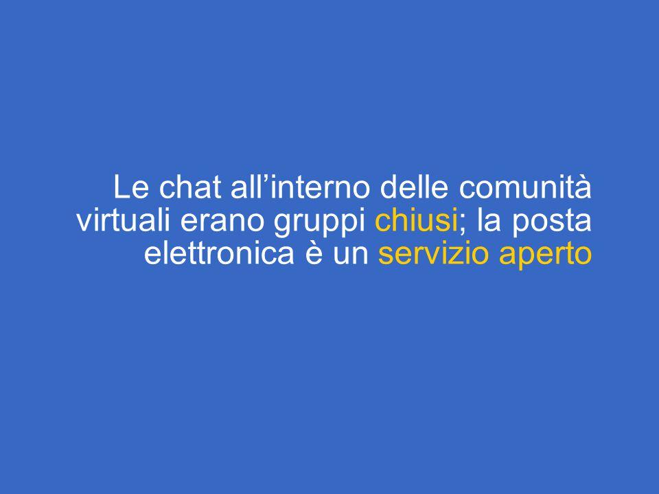 Le chat all'interno delle comunità virtuali erano gruppi chiusi; la posta elettronica è un servizio aperto