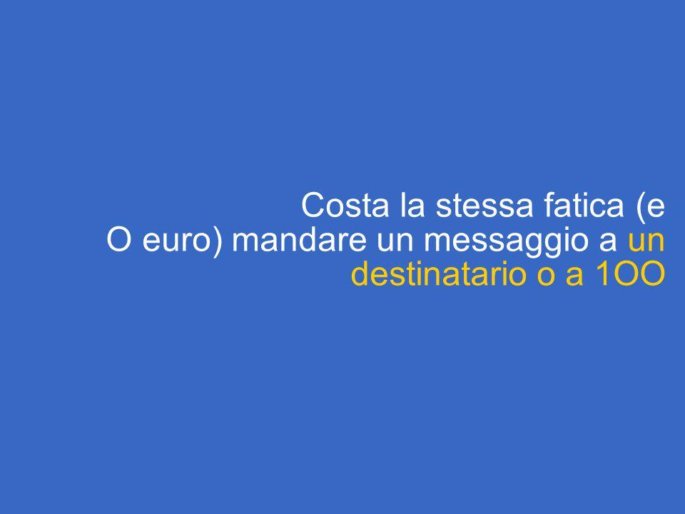 Costa la stessa fatica (e O euro) mandare un messaggio a un destinatario o a 1OO