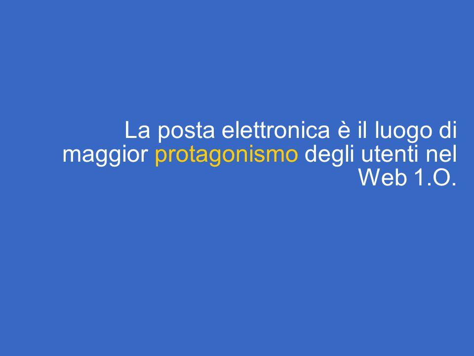La posta elettronica è il luogo di maggior protagonismo degli utenti nel Web 1.O.