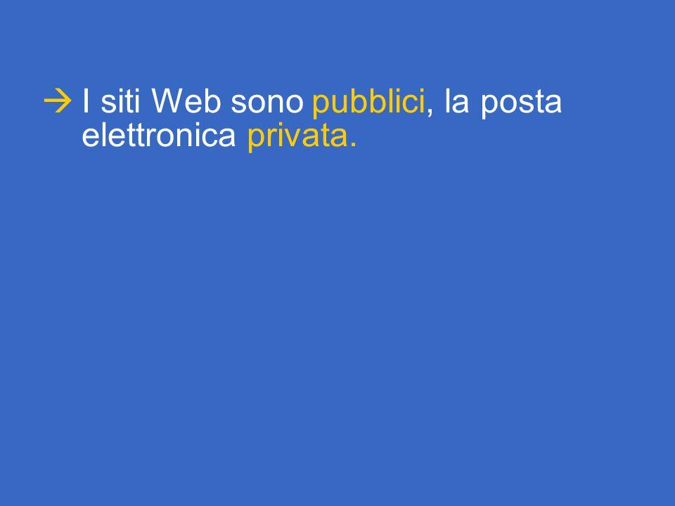  I siti Web sono pubblici, la posta elettronica privata.