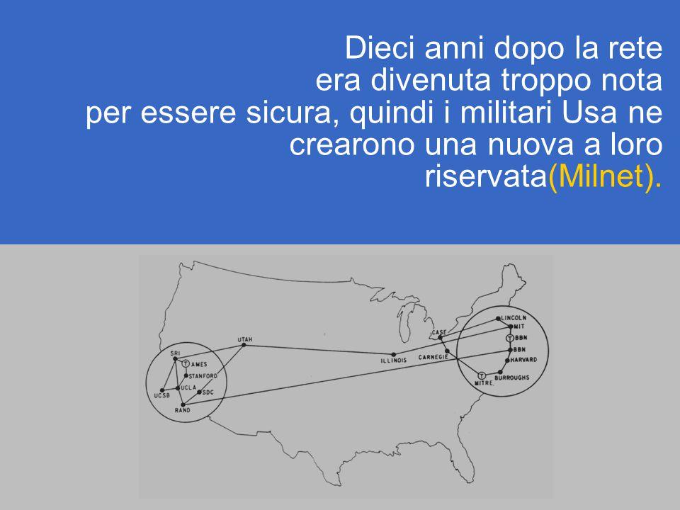 Dieci anni dopo la rete era divenuta troppo nota per essere sicura, quindi i militari Usa ne crearono una nuova a loro riservata(Milnet).