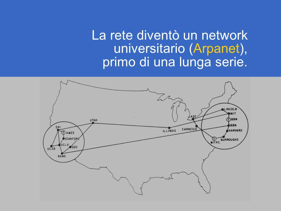 La rete diventò un network universitario (Arpanet), primo di una lunga serie.