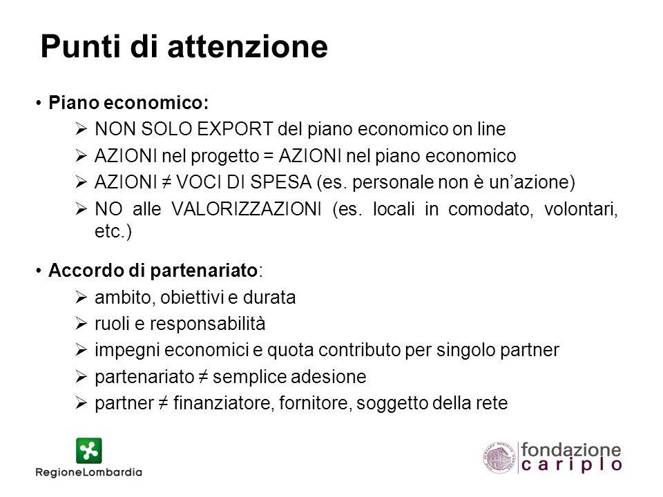 Punti di attenzione Piano economico:  NON SOLO EXPORT del piano economico on line  AZIONI nel progetto = AZIONI nel piano economico  AZIONI ≠ VOCI DI SPESA (es.