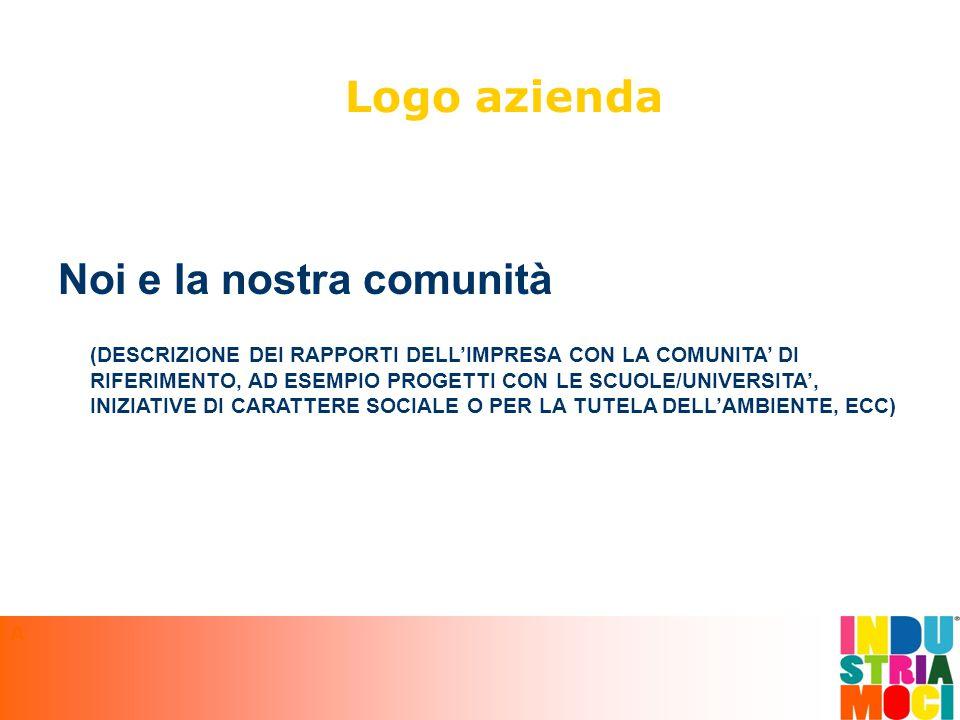 Noi e la nostra comunità Logo azienda (DESCRIZIONE DEI RAPPORTI DELL'IMPRESA CON LA COMUNITA' DI RIFERIMENTO, AD ESEMPIO PROGETTI CON LE SCUOLE/UNIVERSITA', INIZIATIVE DI CARATTERE SOCIALE O PER LA TUTELA DELL'AMBIENTE, ECC) A