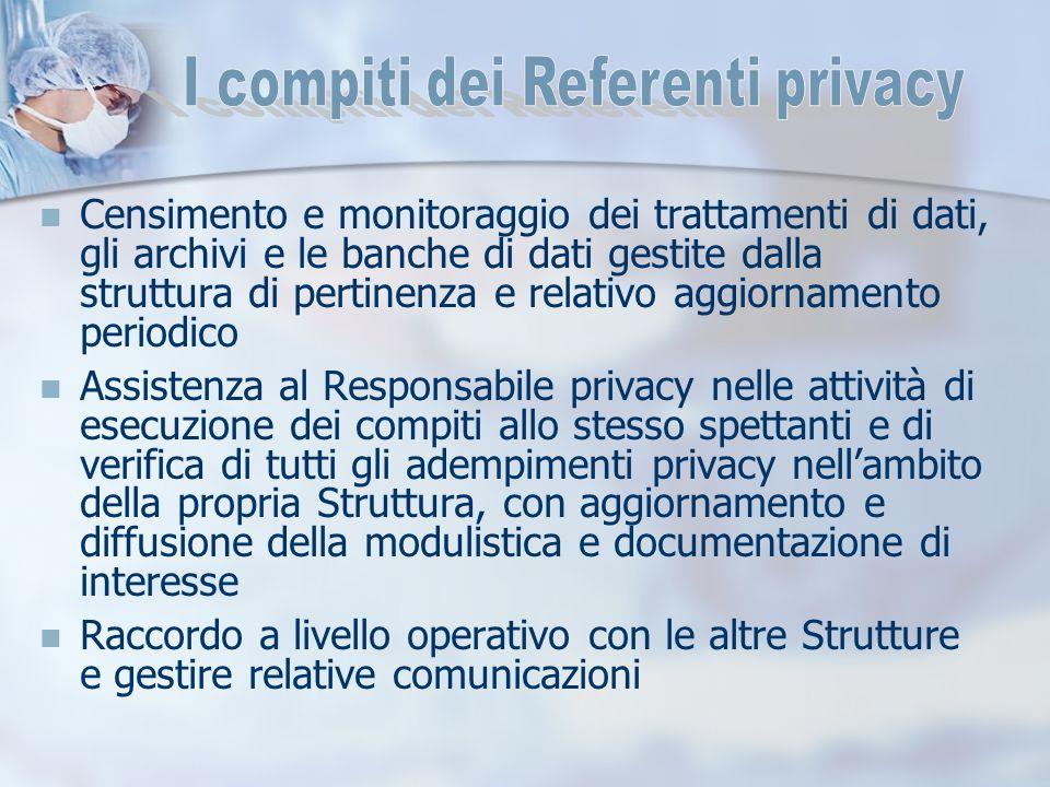 Censimento e monitoraggio dei trattamenti di dati, gli archivi e le banche di dati gestite dalla struttura di pertinenza e relativo aggiornamento peri