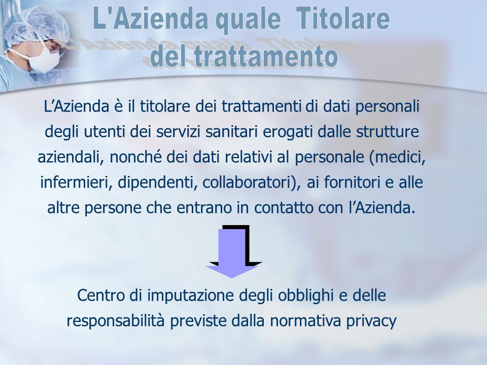 L'Azienda è il titolare dei trattamenti di dati personali degli utenti dei servizi sanitari erogati dalle strutture aziendali, nonché dei dati relativ
