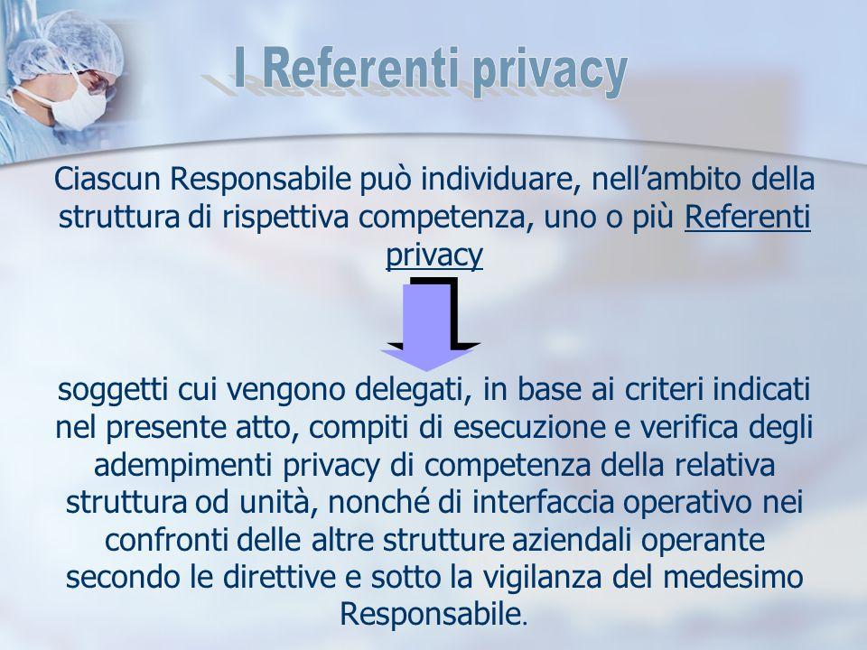 Ciascun Responsabile può individuare, nell'ambito della struttura di rispettiva competenza, uno o più Referenti privacy soggetti cui vengono delegati,