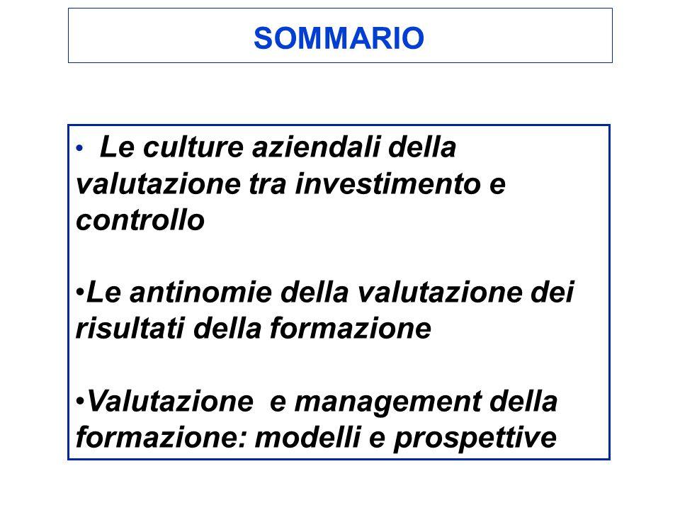 Le culture aziendali della valutazione tra investimento e controllo Le antinomie della valutazione dei risultati della formazione Valutazione e management della formazione: modelli e prospettive SOMMARIO