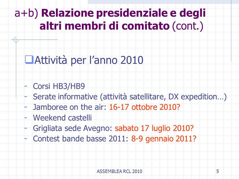 ASSEMBLEA RCL 20105  Attività per l'anno 2010 - Corsi HB3/HB9 - Serate informative (attività satellitare, DX expedition…) - Jamboree on the air: 16-17 ottobre 2010.