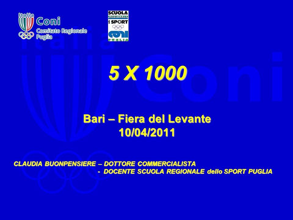 5 X 1000 Bari – Fiera del Levante 10/04/2011 CLAUDIA BUONPENSIERE – DOTTORE COMMERCIALISTA - DOCENTE SCUOLA REGIONALE dello SPORT PUGLIA - DOCENTE SCUOLA REGIONALE dello SPORT PUGLIA