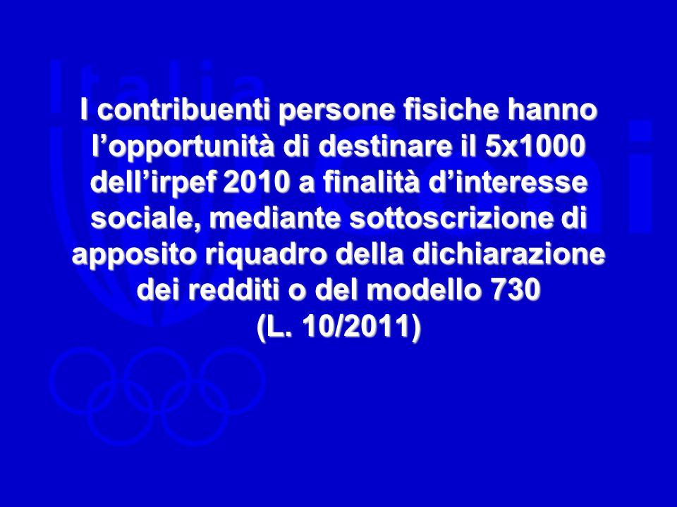 I contribuenti persone fisiche hanno l'opportunità di destinare il 5x1000 dell'irpef 2010 a finalità d'interesse sociale, mediante sottoscrizione di apposito riquadro della dichiarazione dei redditi o del modello 730 (L.