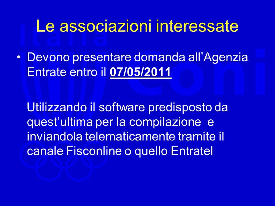 Le associazioni interessate Devono presentare domanda all'Agenzia Entrate entro il 07/05/2011 Utilizzando il software predisposto da quest'ultima per la compilazione e inviandola telematicamente tramite il canale Fisconline o quello Entratel